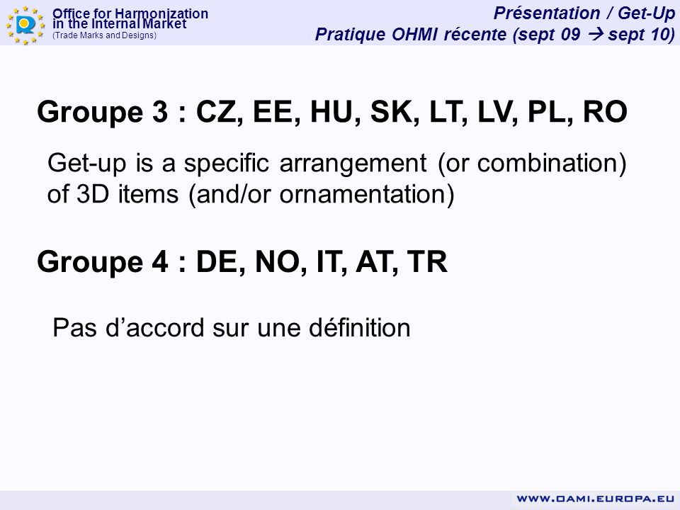 Office for Harmonization in the Internal Market (Trade Marks and Designs) Présentation / Get-Up Pratique OHMI récente (sept 09 sept 10) Groupe 3 : CZ, EE, HU, SK, LT, LV, PL, RO Get-up is a specific arrangement (or combination) of 3D items (and/or ornamentation) Groupe 4 : DE, NO, IT, AT, TR Pas daccord sur une définition