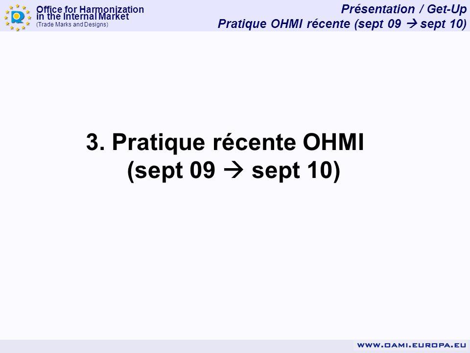 Office for Harmonization in the Internal Market (Trade Marks and Designs) 3. Pratique récente OHMI (sept 09 sept 10) Présentation / Get-Up Pratique OH
