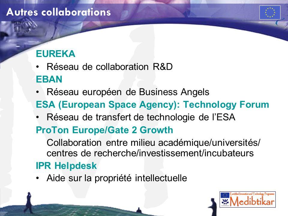 M Autres collaborations EUREKA Réseau de collaboration R&D EBAN Réseau européen de Business Angels ESA (European Space Agency): Technology Forum Résea