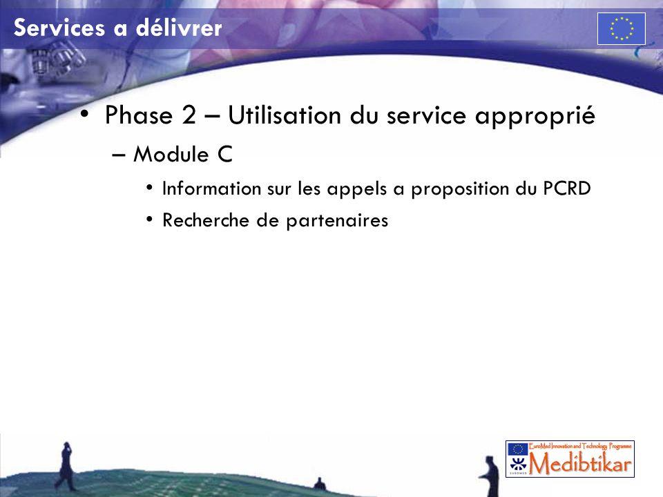 Services a délivrer Phase 2 – Utilisation du service approprié –Module C Information sur les appels a proposition du PCRD Recherche de partenaires