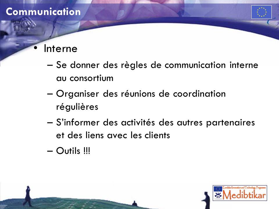 Communication Interne –Se donner des règles de communication interne au consortium –Organiser des réunions de coordination régulières –Sinformer des activités des autres partenaires et des liens avec les clients –Outils !!!