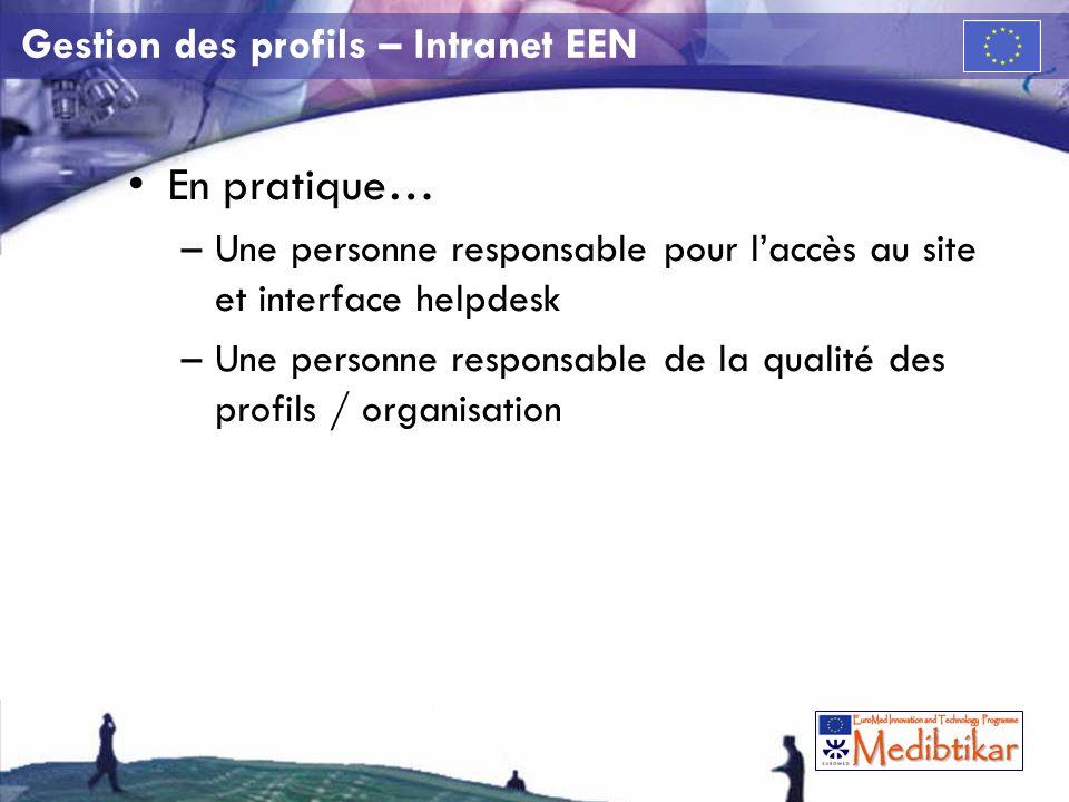 Gestion des profils – Intranet EEN En pratique… –Une personne responsable pour laccès au site et interface helpdesk –Une personne responsable de la qualité des profils / organisation