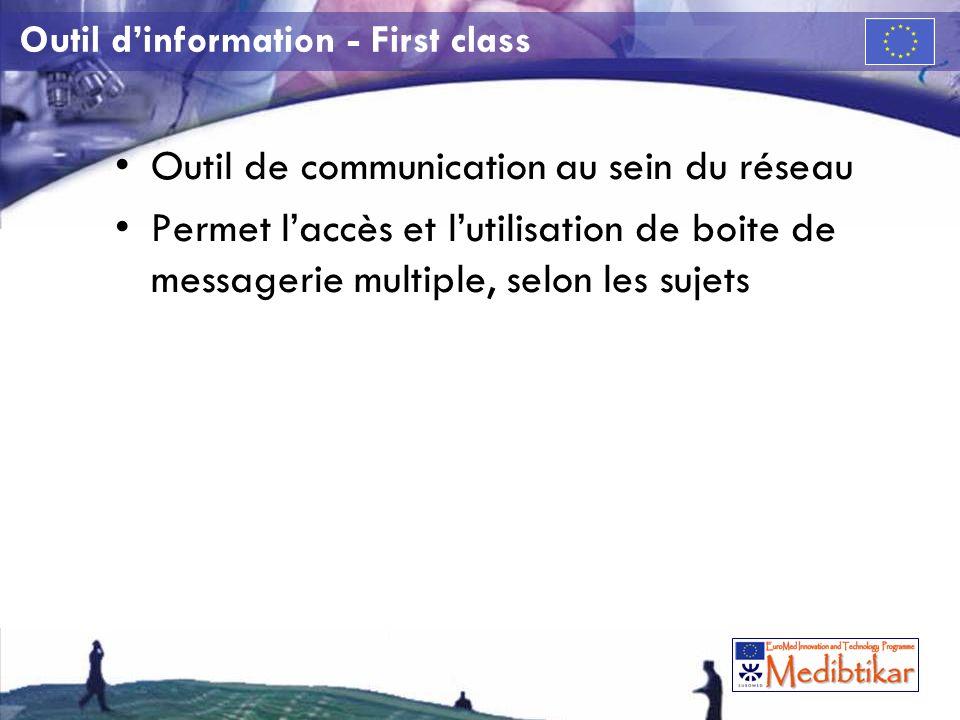 Outil dinformation - First class Outil de communication au sein du réseau Permet laccès et lutilisation de boite de messagerie multiple, selon les sujets
