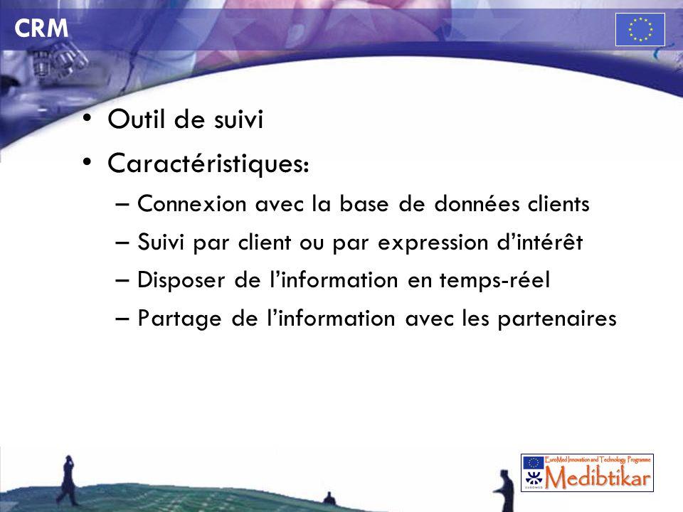 CRM Outil de suivi Caractéristiques: –Connexion avec la base de données clients –Suivi par client ou par expression dintérêt –Disposer de linformation en temps-réel –Partage de linformation avec les partenaires
