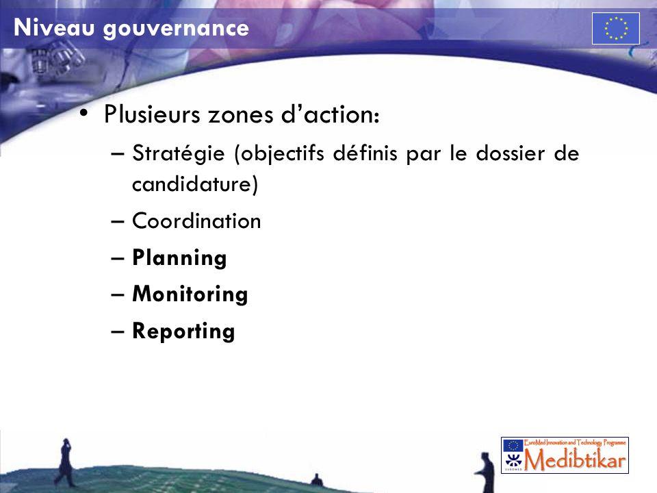 Niveau gouvernance Plusieurs zones daction: –Stratégie (objectifs définis par le dossier de candidature) –Coordination –Planning –Monitoring –Reporting