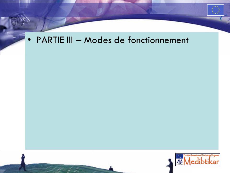 PARTIE III – Modes de fonctionnement
