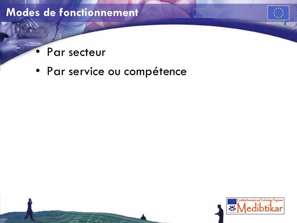 Modes de fonctionnement Par secteur Par service ou compétence