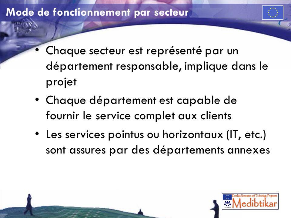 Mode de fonctionnement par secteur Chaque secteur est représenté par un département responsable, implique dans le projet Chaque département est capable de fournir le service complet aux clients Les services pointus ou horizontaux (IT, etc.) sont assures par des départements annexes