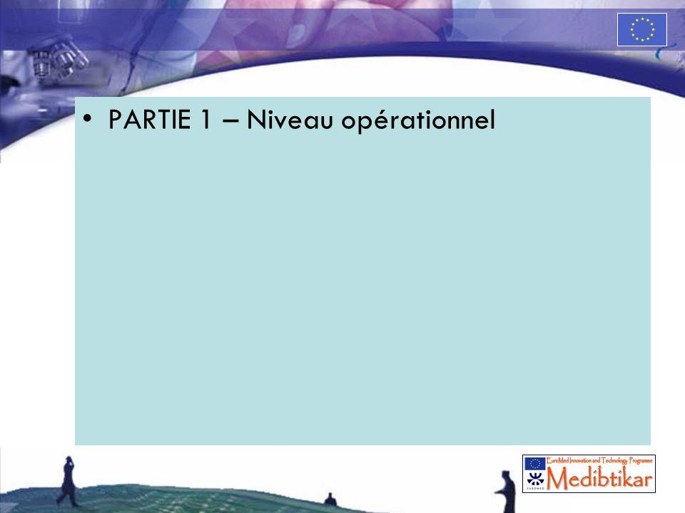 PARTIE 1 – Niveau opérationnel