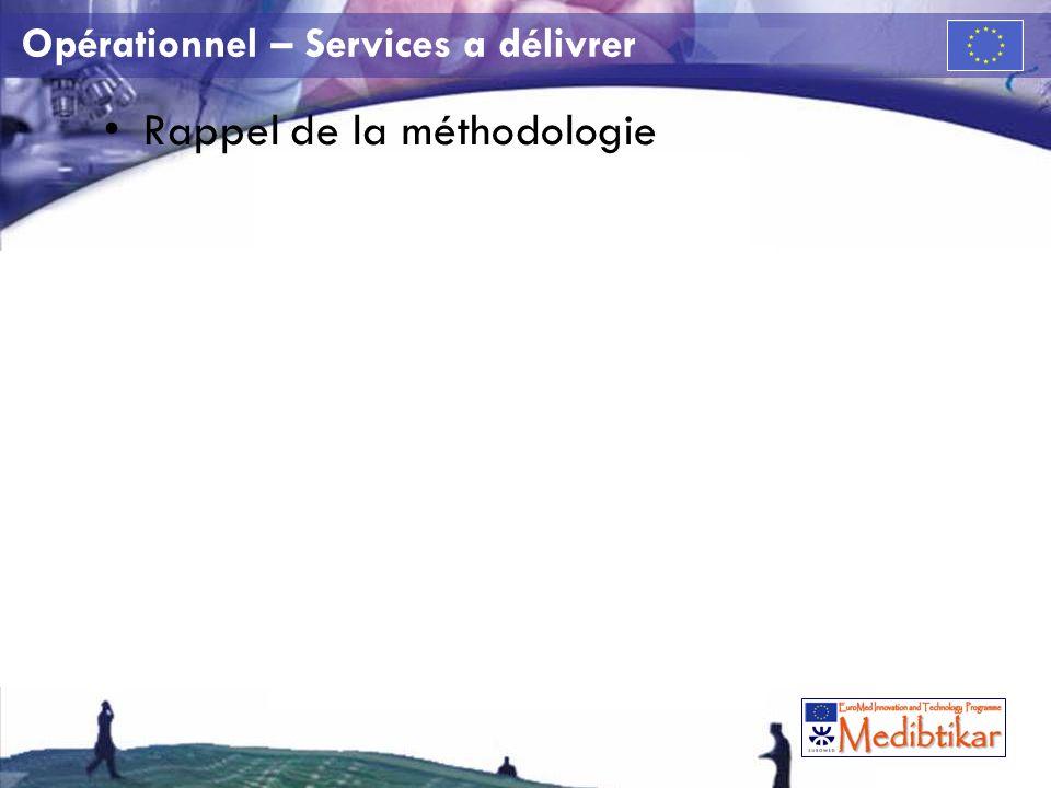 Opérationnel – Services a délivrer Rappel de la méthodologie