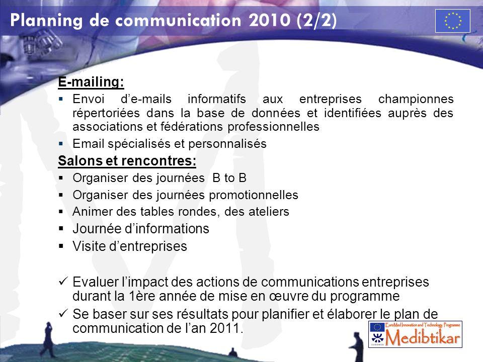 M Planning de communication 2010 (2/2) E-mailing: Envoi de-mails informatifs aux entreprises championnes répertoriées dans la base de données et ident