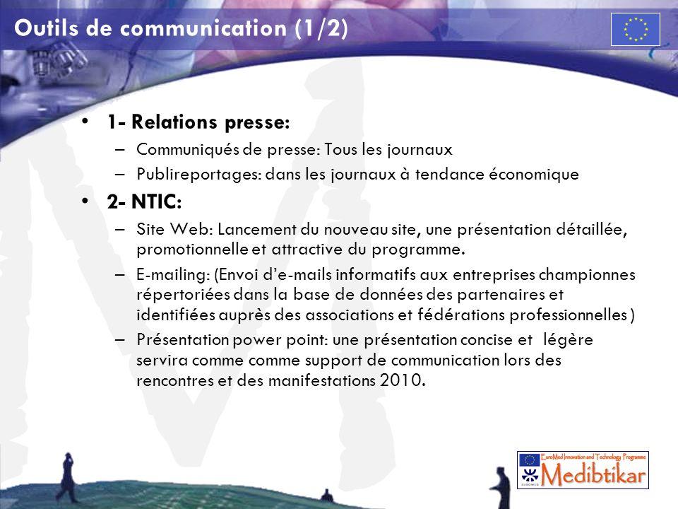 M Outils de communication (1/2) 1- Relations presse: –Communiqués de presse: Tous les journaux –Publireportages: dans les journaux à tendance économiq