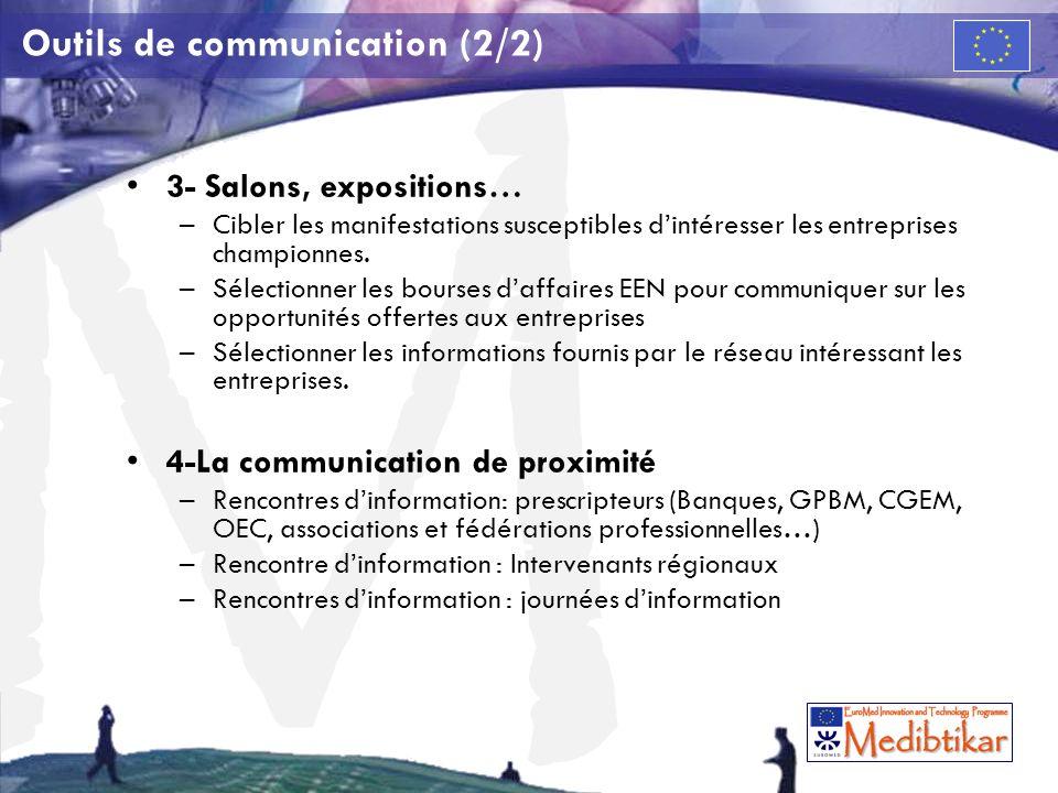 M Outils de communication (2/2) 3- Salons, expositions… –Cibler les manifestations susceptibles dintéresser les entreprises championnes. –Sélectionner