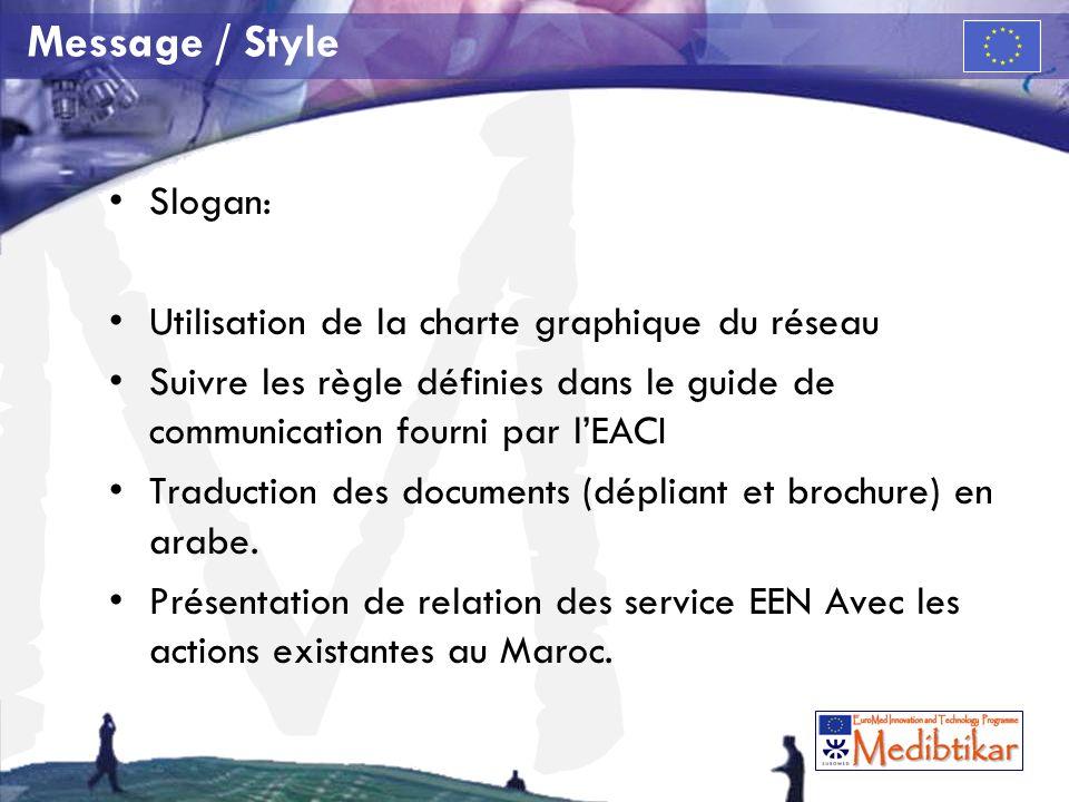 M Message / Style Slogan: Utilisation de la charte graphique du réseau Suivre les règle définies dans le guide de communication fourni par lEACI Tradu