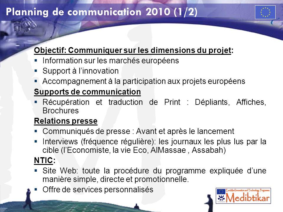 M Planning de communication 2010 (1/2) Objectif: Communiquer sur les dimensions du projet: Information sur les marchés européens Support à linnovation