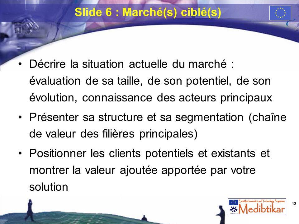 Décrire la situation actuelle du marché : évaluation de sa taille, de son potentiel, de son évolution, connaissance des acteurs principaux Présenter s