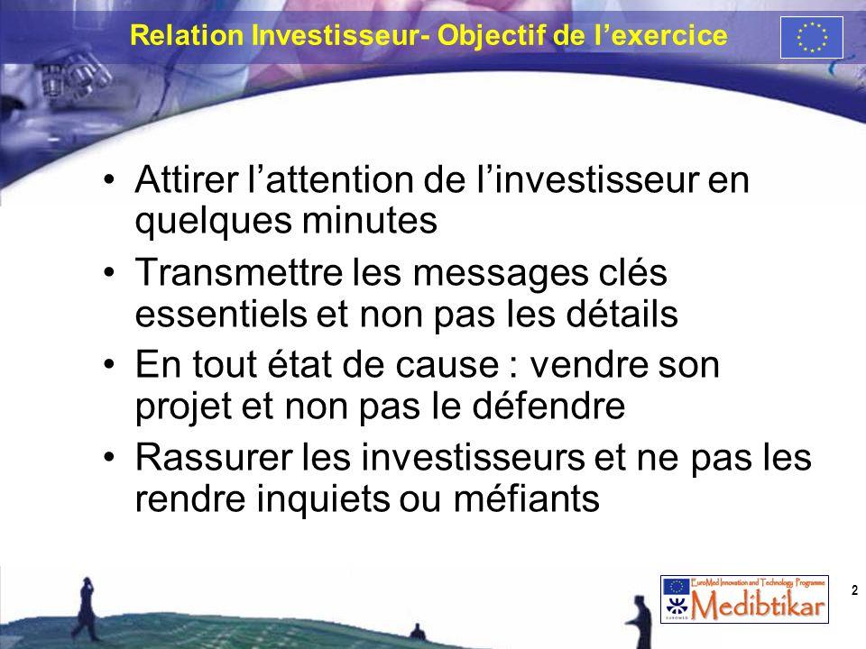 Relation Investisseur- Objectif de lexercice Attirer lattention de linvestisseur en quelques minutes Transmettre les messages clés essentiels et non p