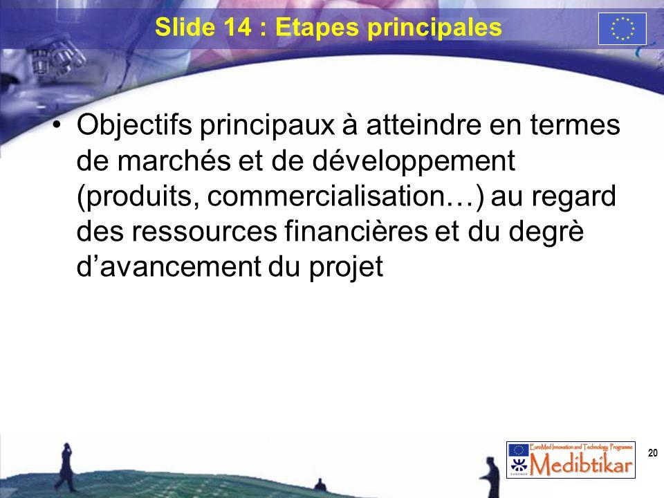 Objectifs principaux à atteindre en termes de marchés et de développement (produits, commercialisation…) au regard des ressources financières et du de