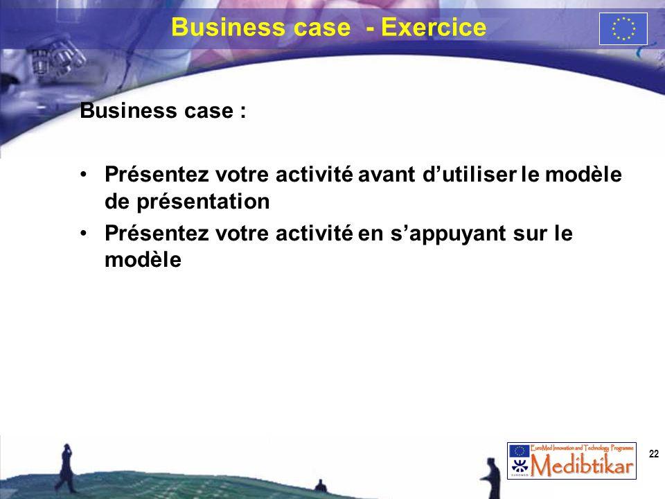 Business case : Présentez votre activité avant dutiliser le modèle de présentation Présentez votre activité en sappuyant sur le modèle Business case -