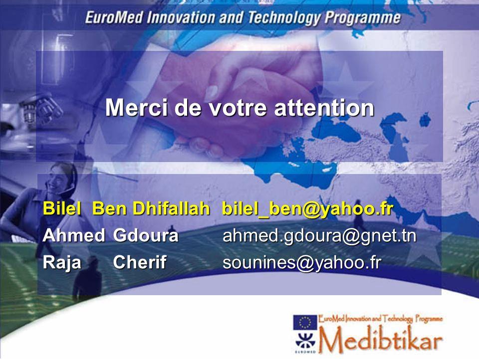 Merci de votre attention Bilel Ben Dhifallah bilel_ben@yahoo.fr AhmedGdoura ahmed.gdoura@gnet.tn RajaCherif sounines@yahoo.fr
