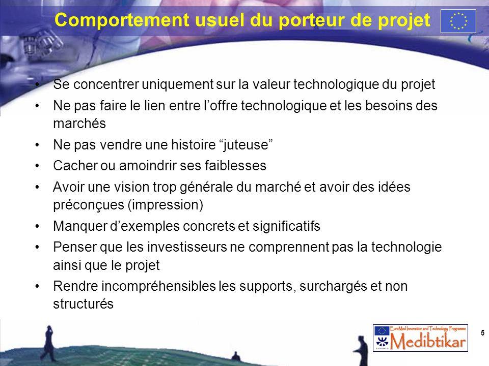 Se concentrer uniquement sur la valeur technologique du projet Ne pas faire le lien entre loffre technologique et les besoins des marchés Ne pas vendr