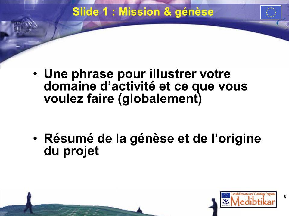 Une phrase pour illustrer votre domaine dactivité et ce que vous voulez faire (globalement) Résumé de la génèse et de lorigine du projet Slide 1 : Mis