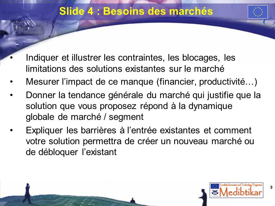 Indiquer et illustrer les contraintes, les blocages, les limitations des solutions existantes sur le marché Mesurer limpact de ce manque (financier, p