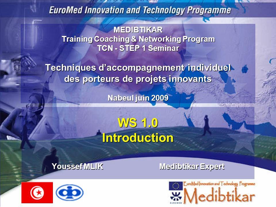 TCN Step 1 - ReplicationNabeul Juin 20092 Sommaire Présentation du projet Medibtikar Présentation du programme TCN (Training- Coaching-Networking) Présentation du Séminaire 1 (STEP 1) Agenda du séminaire Attentes des participants