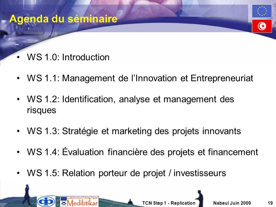 TCN Step 1 - ReplicationNabeul Juin 200919 Agenda du séminaire WS 1.0: Introduction WS 1.1: Management de lInnovation et Entrepreneuriat WS 1.2: Ident
