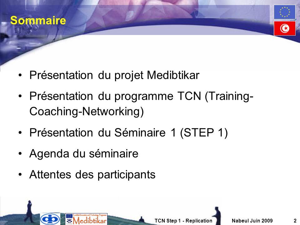 TCN Step 1 - ReplicationNabeul Juin 20093 Présentation du projet Medibtikar Projet européen dune durée de 3 ans (jusquà mars 2009) 7,3 Millions deuros Bénéficiaires régionaux (10 NFPs) Équipe projet composée de 20 experts européens issus de 6 cabinets de conseils (Intrasoft, Planet, BDPA, CKA, Zenit & AFII) Experts internationaux et locaux pour de courtes missions