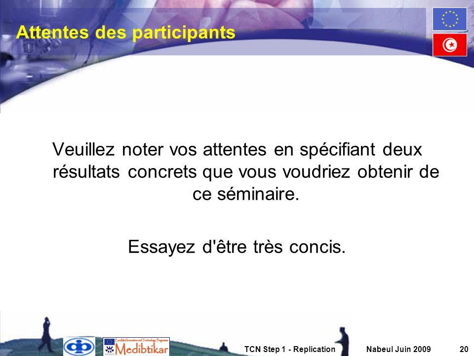 TCN Step 1 - ReplicationNabeul Juin 200920 Attentes des participants Veuillez noter vos attentes en spécifiant deux résultats concrets que vous voudri