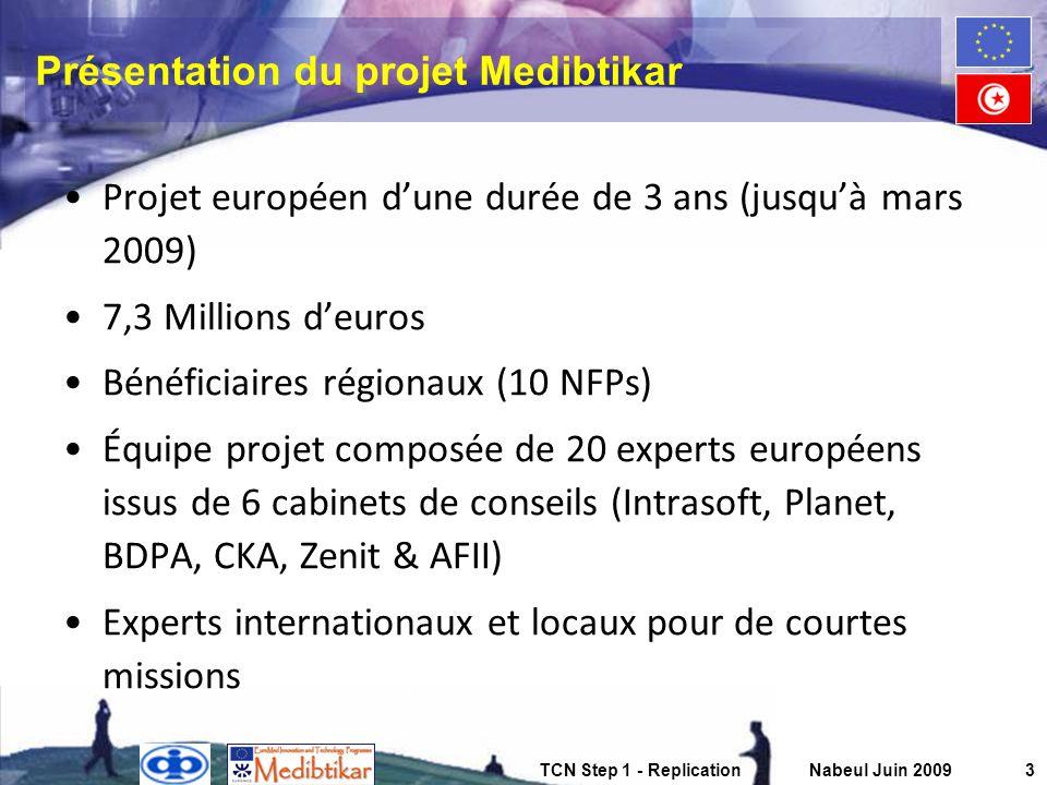 TCN Step 1 - ReplicationNabeul Juin 20093 Présentation du projet Medibtikar Projet européen dune durée de 3 ans (jusquà mars 2009) 7,3 Millions deuros