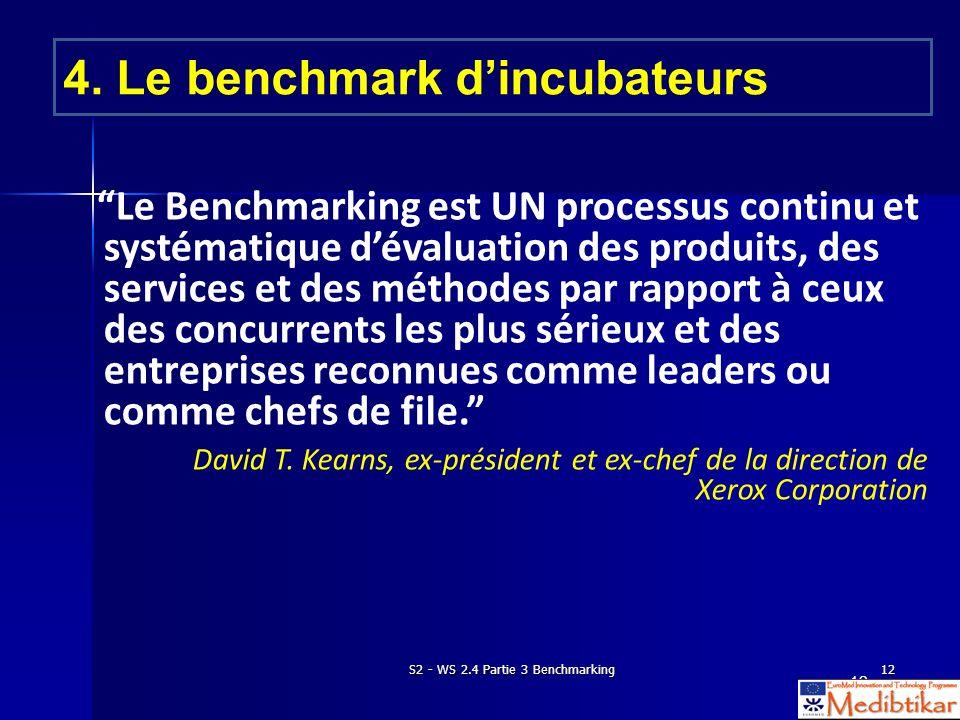 S2 - WS 2.4 Partie 3 Benchmarking12 Le Benchmarking est UN processus continu et systématique dévaluation des produits, des services et des méthodes par rapport à ceux des concurrents les plus sérieux et des entreprises reconnues comme leaders ou comme chefs de file.