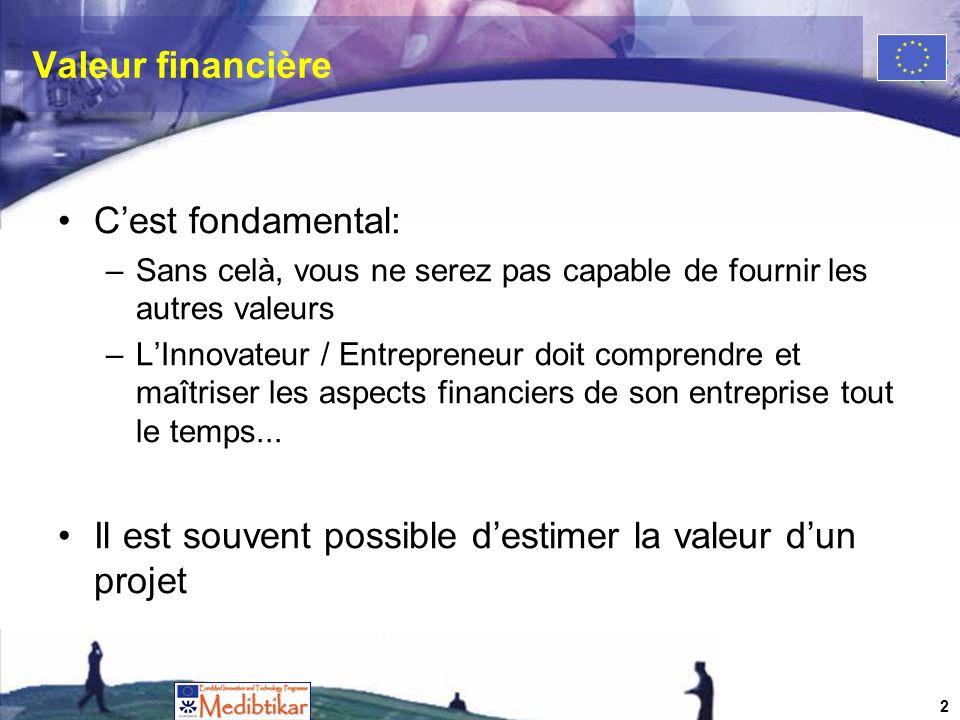 Valeur financière Cest fondamental: –Sans celà, vous ne serez pas capable de fournir les autres valeurs –LInnovateur / Entrepreneur doit comprendre et maîtriser les aspects financiers de son entreprise tout le temps...
