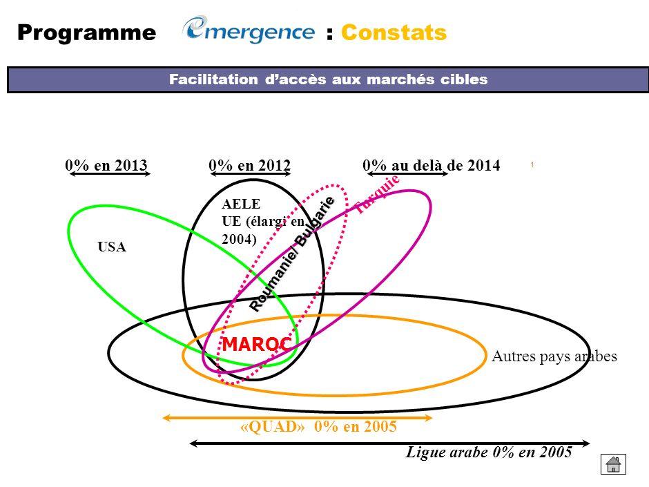 CHOIX STRATEGIQUE DE LOUVERTURE DE LECONOMIE MAROCAINE MAROC: UN DES PLUS GRANDS RESEAUX MONDIAUX DE ZONES DE LIBRE ECHANGE Programme : Constats