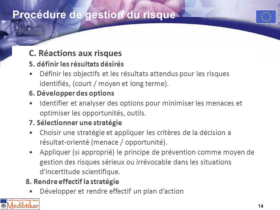 14 C. Réactions aux risques 5. définir les résultats désirés Définir les objectifs et les résultats attendus pour les risques identifiés, (court / moy