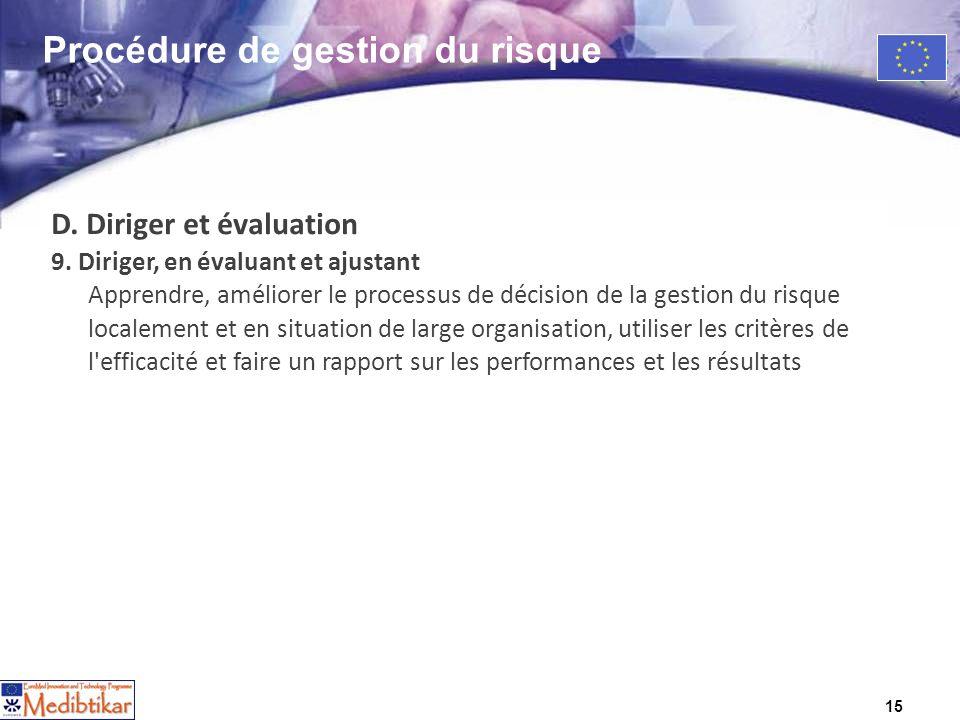 15 D. Diriger et évaluation 9. Diriger, en évaluant et ajustant Apprendre, améliorer le processus de décision de la gestion du risque localement et en