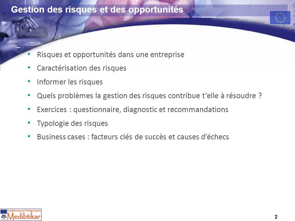 2 Gestion des risques et des opportunités Risques et opportunités dans une entreprise Caractérisation des risques Informer les risques Quels problèmes