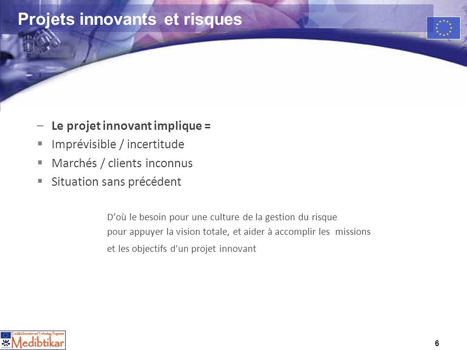 6 Projets innovants et risques –Le projet innovant implique = Imprévisible / incertitude Marchés / clients inconnus Situation sans précédent Doù le be