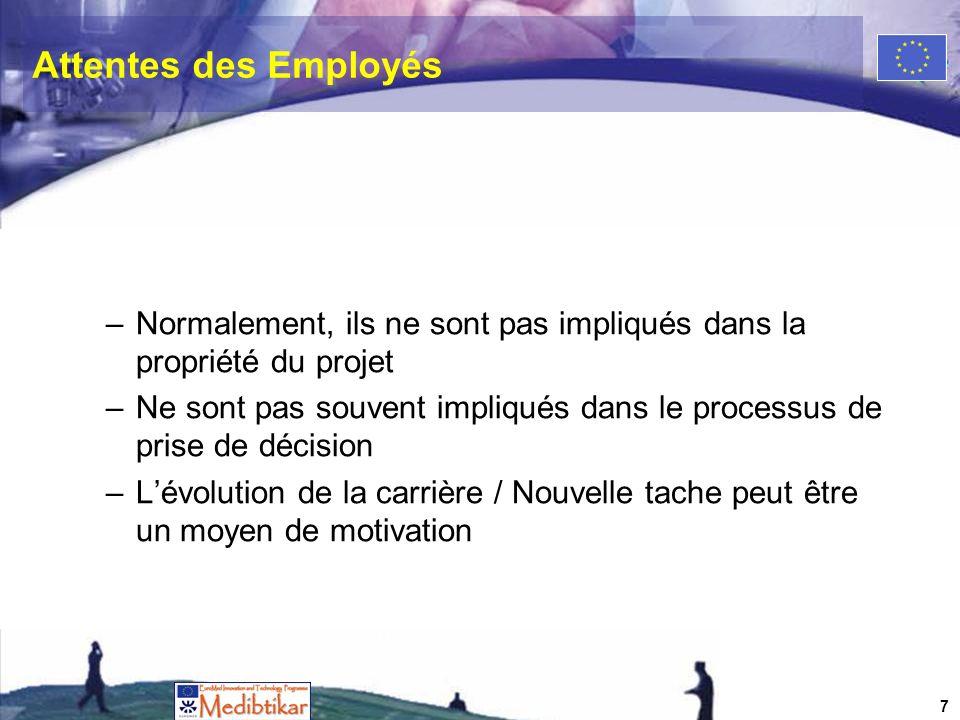 Attentes des Employés –Normalement, ils ne sont pas impliqués dans la propriété du projet –Ne sont pas souvent impliqués dans le processus de prise de décision –Lévolution de la carrière / Nouvelle tache peut être un moyen de motivation 7