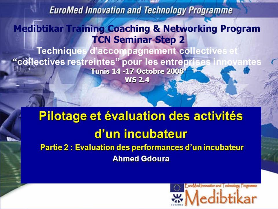 S2 - WS 2.4 Evaluation des activités des incubateurs 1 Pilotage et évaluation des activités dun incubateur Partie 2 : Evaluation des performances dun