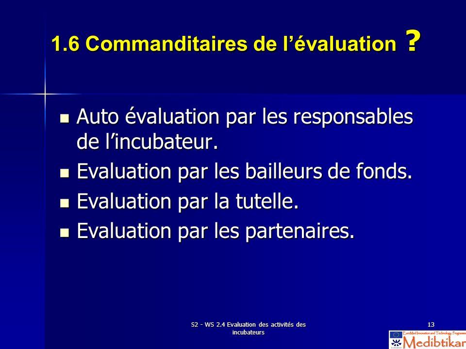 S2 - WS 2.4 Evaluation des activités des incubateurs 13 1.6 Commanditaires de lévaluation ? Auto évaluation par les responsables de lincubateur. Auto