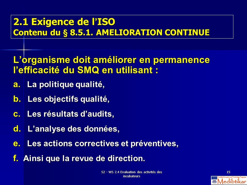 S2 - WS 2.4 Evaluation des activités des incubateurs 15 2.1 Exigence de l ISO Contenu du § 8.5.1. AMELIORATION CONTINUE Lorganisme doit améliorer en p
