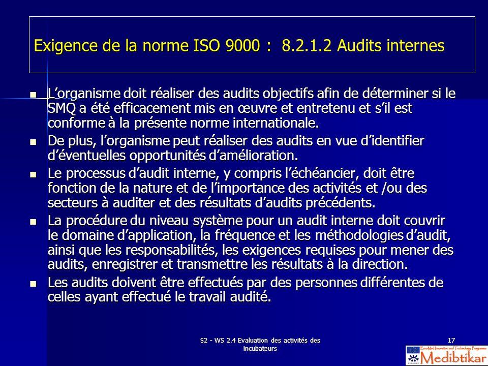 S2 - WS 2.4 Evaluation des activités des incubateurs 17 Exigence de la norme ISO 9000 : Exigence de la norme ISO 9000 : 8.2.1.2 Audits internes Lorgan