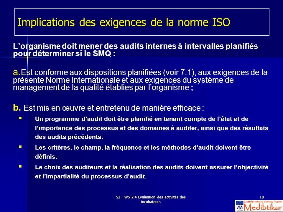 S2 - WS 2.4 Evaluation des activités des incubateurs 18 Implications des exigences de la norme ISO Lorganisme doit mener des audits internes à interva