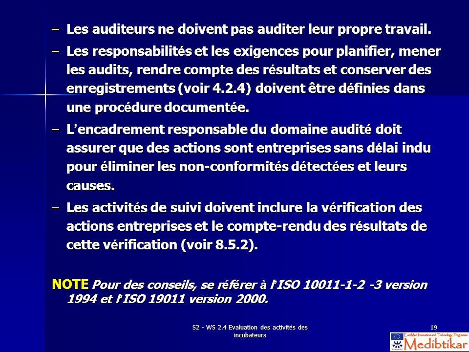 S2 - WS 2.4 Evaluation des activités des incubateurs 19 –Les auditeurs ne doivent pas auditer leur propre travail. –Les responsabilit é s et les exige