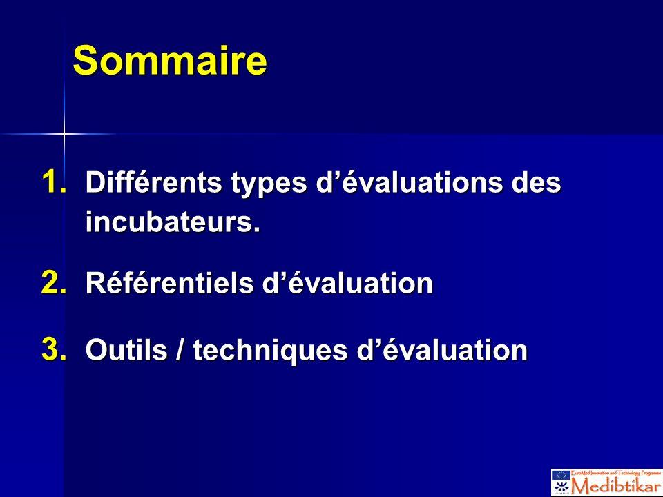 Sommaire 1. Différents types dévaluations des incubateurs. 2. Référentiels dévaluation 3. Outils / techniques dévaluation