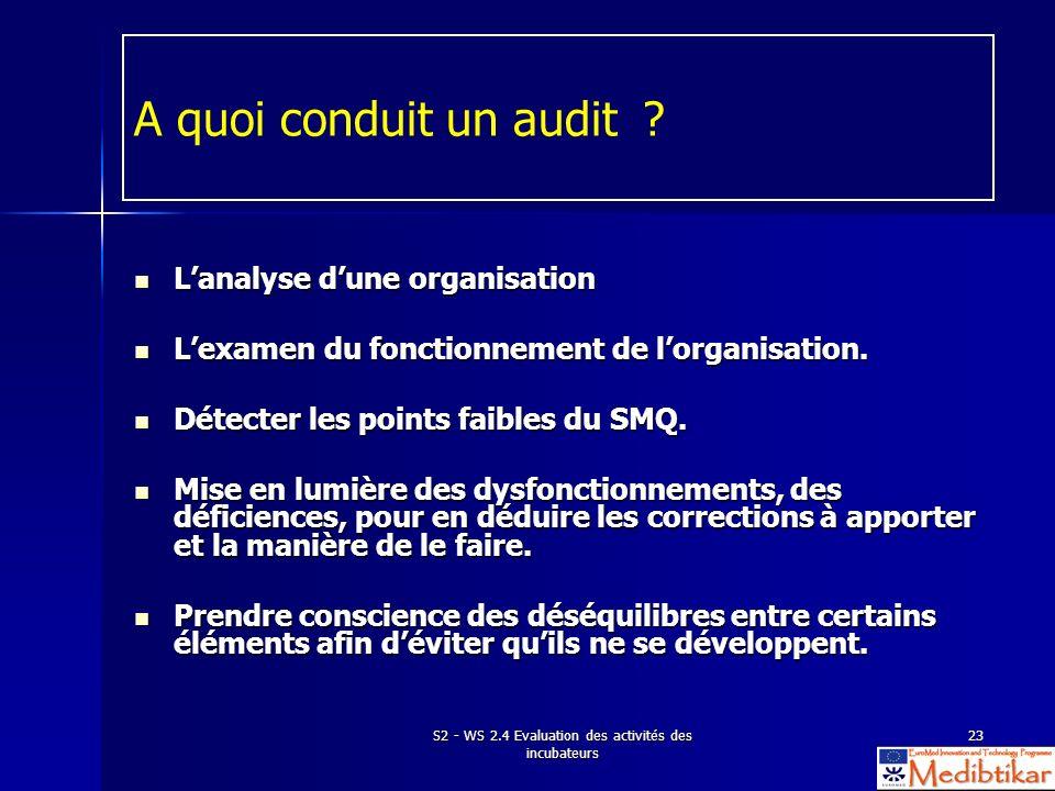 S2 - WS 2.4 Evaluation des activités des incubateurs 23 A quoi conduit un audit ? Lanalyse dune organisation Lanalyse dune organisation Lexamen du fon