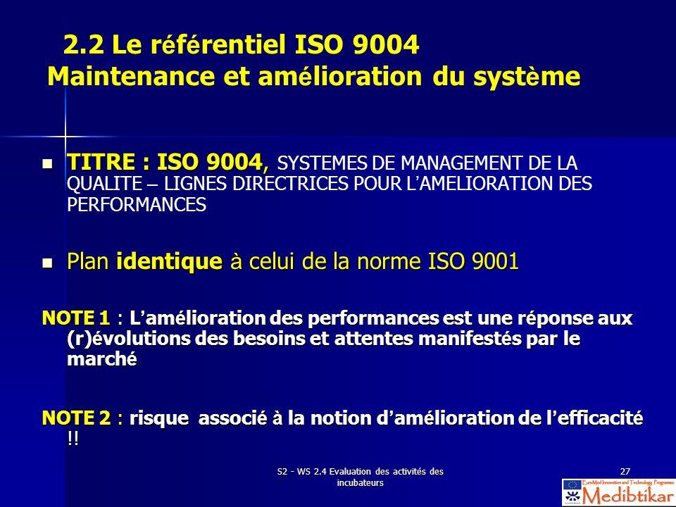S2 - WS 2.4 Evaluation des activités des incubateurs 27 2.2 Le r é f é rentiel ISO 9004 Maintenance et am é lioration du syst è me TITRE : ISO 9004, T