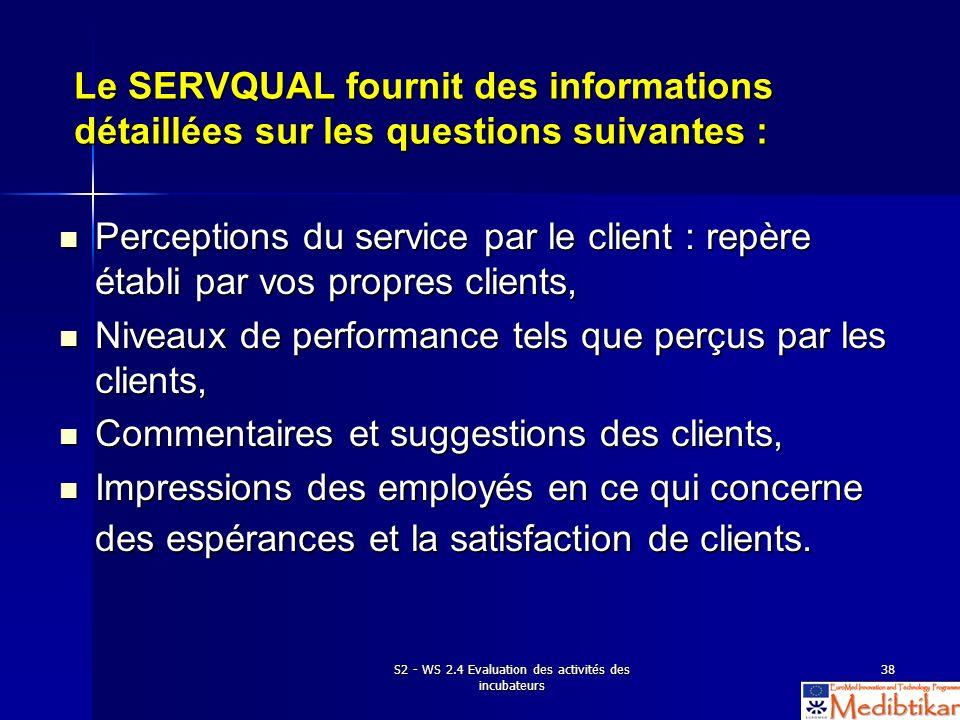 S2 - WS 2.4 Evaluation des activités des incubateurs 38 Le SERVQUAL fournit des informations détaillées sur les questions suivantes : Perceptions du s